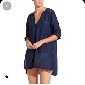 Athleta Cover Up Large Blue Tunic Silk Cotton